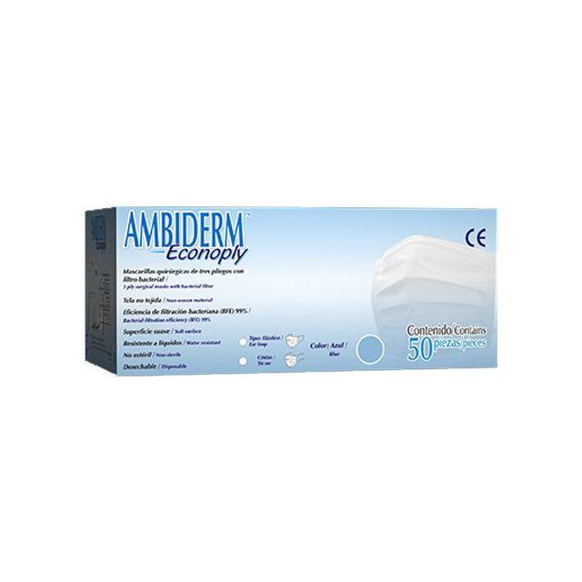 Cubrebocas Ambiderm Econoply Azul